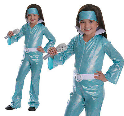 Childrens Swedish Pop Group Fancy Dress Costume Jumpsuit Outfit Childs Kids 3-10 - Group Costumes Girls