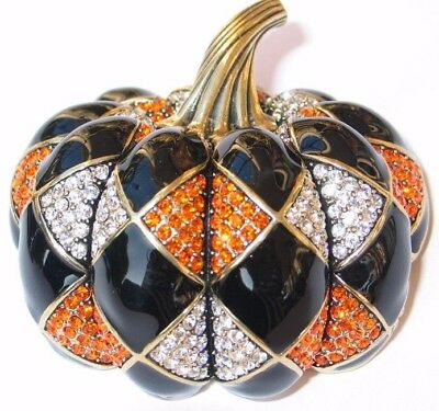 NIB HEIDI DAUS HALLOWEEN WITCH HARLEQUIN PUMPKIN PIN BROOCH JEWELRY 2.75