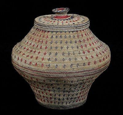 Very Rare Large Fine Weave Pacific NW Makah Nootka Knob Basket Ca.1870 ~ 1890's