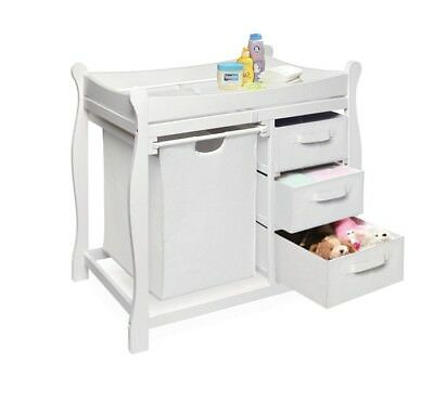 Baby Changing Table Set Nursery Furniture Girl Boy Newborn Storage Drawers White