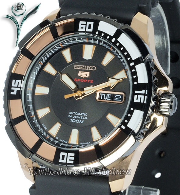 New SEIKO 5 SPORTS ROSE GOLD DAY DATE AUTO RUBBER DIVE STRAP SRP210K1 SRP210J1