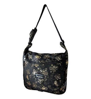 Black Messenger Sling  School Bag Butterflies GOLD 123 Shoulder Day Hike -