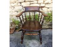 Antique Victorian Elm and Beech Smokers Bow Chair