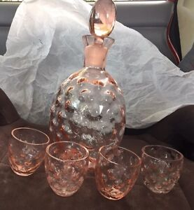 Pink Depression Glass Decanter & 4 cups