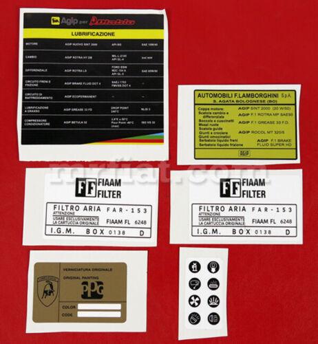 Lamborghini Espada Engine Compartment Stickers Set New