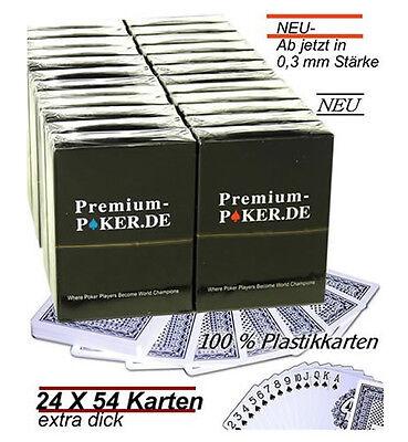 24 X PREMIUM CASINO POKER  KARTEN TOP 100% PLASTIK POKERKARTEN