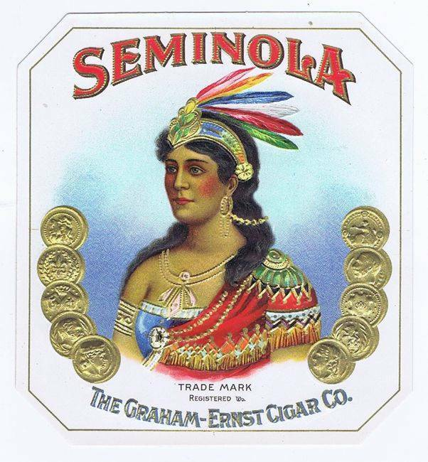 Seminola, original outer cigar box label, woman, feathers, embossed coins