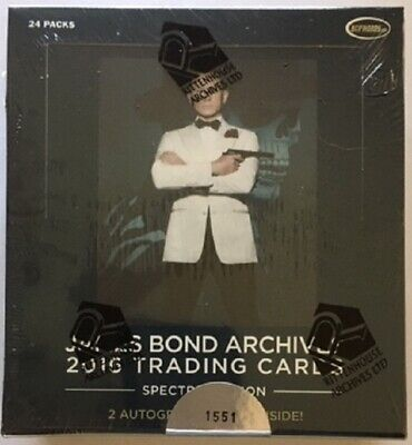 James Bond Archives 2016 Spectre Edition Trading Cards Sealed Box, 2 Autographs
