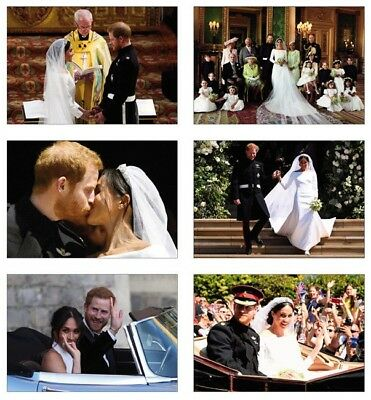 Royal Wedding Harry and Meghan Markle 6 Card Full Size POSTCARD Set