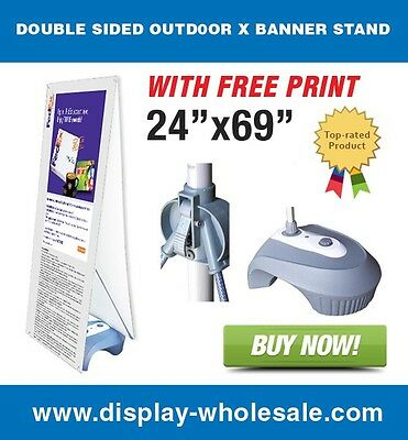 Double Sided Outdoor X Banner Stand with Water Fill Base and(2) 24