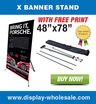 Giant X Trade Show Banner Stand 48x78 Vinyl Print