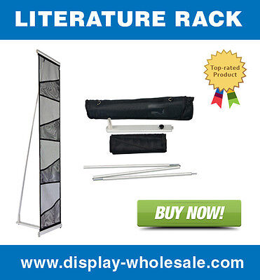 Four-pocket Mesh Floor Literature Rack Brochure Magazine Display Holder