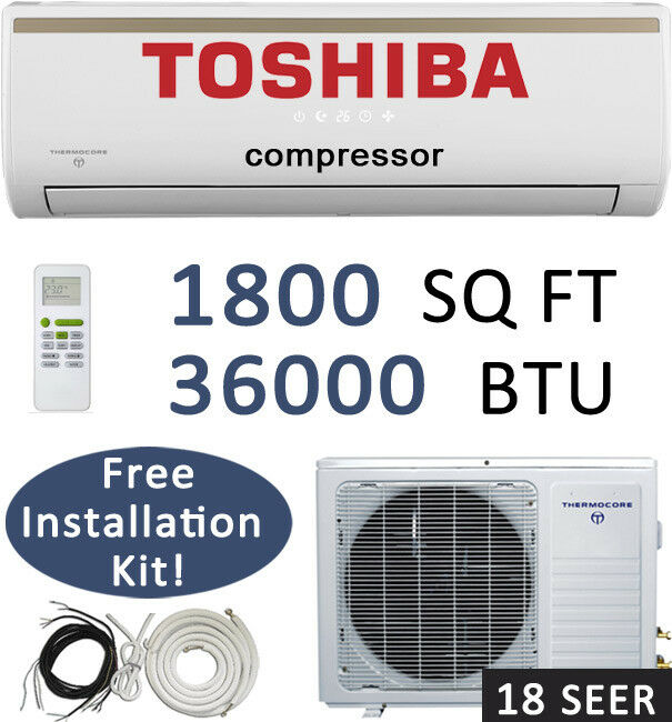 18 Seer: 36000 Btu Ductless Mini Split Air Conditioner Heat Pump / 3 Ton, 36,000