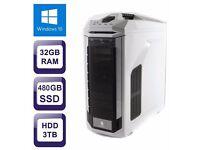 Zoostorm i7 4790 480GB 3TB 32GB WiFi Overclock Desktop Gaming PC. Windows 10