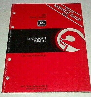 John Deere 280 Loader Operators Manual Fits 4050 To 4850 Tractors 4640 4450