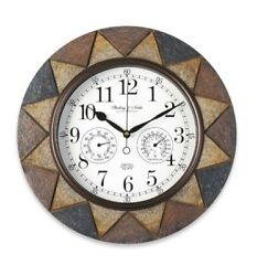 Indoor Outdoor Clock Wall Mount Slate Look Hygrometer Thermometer Temperature