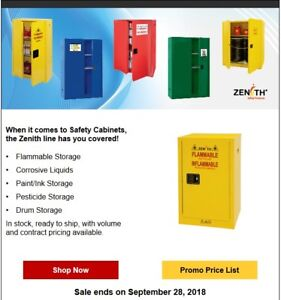 FLAMMABLE STORAGE CABINETS ON SALE. JUSTRITE & ZENITH CABINETS.