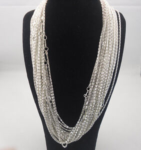 Fashion delicate 120pcs Silver Plated Snake Chain Necklace With Clasp 20inchs S