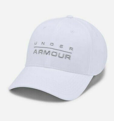 NWT MENS UNDER ARMOUR 1342243 100 WORDMARK STRETCH CLASSIC FIT CAP HAT $25 WHITE Classic Tweed Hat