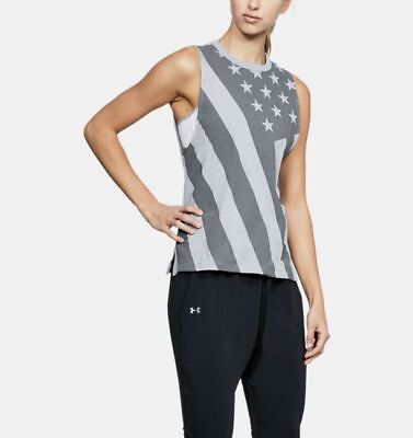 Under Armour USA Flag Muscle Women's Tank Top Shirt 1315630-035 Large Crossfit