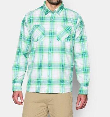 Under Armour Chesapeake 2 Ls Plaid Shirt   Mens Green Energy Small