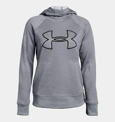 Under Armour Womens Logo Pullover Hoodie 1318396 Grey Heather Medium