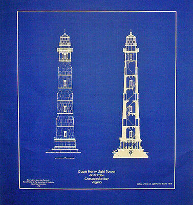 Lighthouse at Cape Henry Chesapeake Bay 1878 Blueprint  19x21  (241)