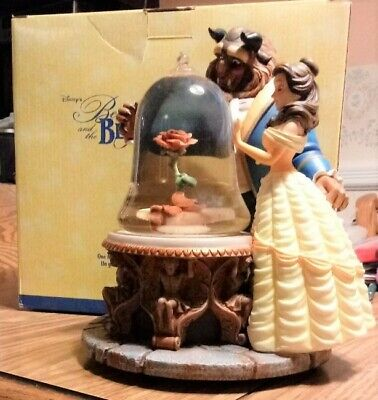 Disney Beauty and the Beast Musical Water Snow Globe Rose Enchanted 1991 w/box