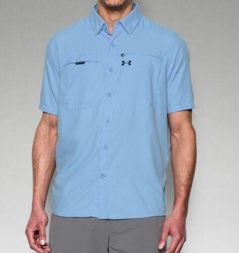 Under Armour Men UA Fish Stalker Golf Shirt Short Sleeve Blue 2XL XXL 1283194