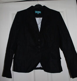 Marks and Spencer lined linen suit jacket size 8 M&S Petite Collection black