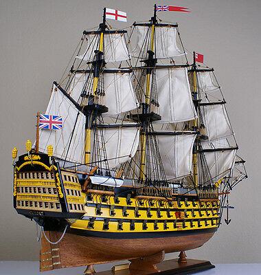 """HMS Victory 34"""" wood model ship historic British tall sailing boat"""