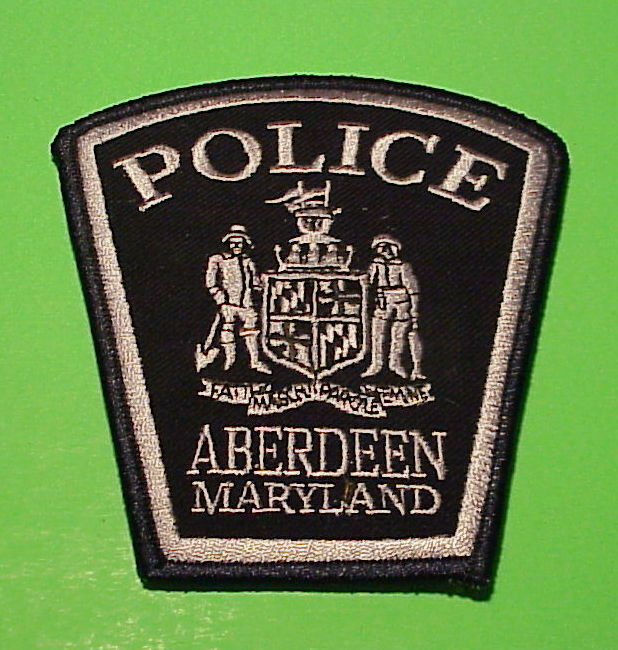 ABERDEEN  MARYLAND  MD  ( SILVER / BLACK )  POLICE DEPT. PATCH  FREE SHIPPING!!!