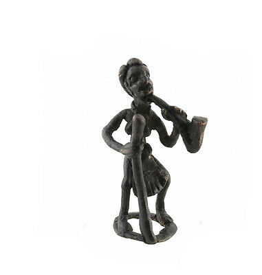 Figure African Figurine Bronze African Bamoun Smoking Pipe Cameroon AB17