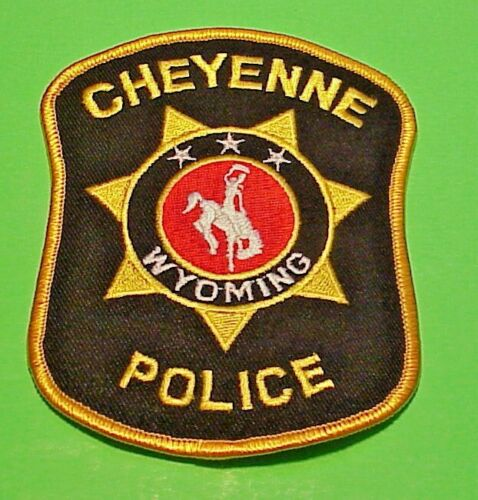 """CHEYENNE  WYOMING  WY  ( GOLD BORDER )  4 1/2"""" POLICE PATCH  FREE SHIPPING!!!"""
