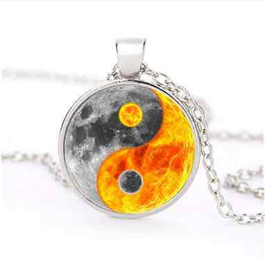 Ying and Yang Sun Moon Glass Dome Silver Necklace for men woman Jewelry#B55