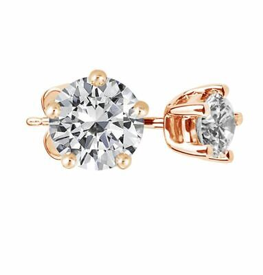 2.00 Ct Round Brilliant Cut Stud Diamond Earrings G,SI1 GIA 18K WG, YG or RG