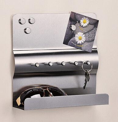 Schlüsselbrett Schlüsselleiste Schlüsselboard Edelstahl + Magnet Schlüsselkasten