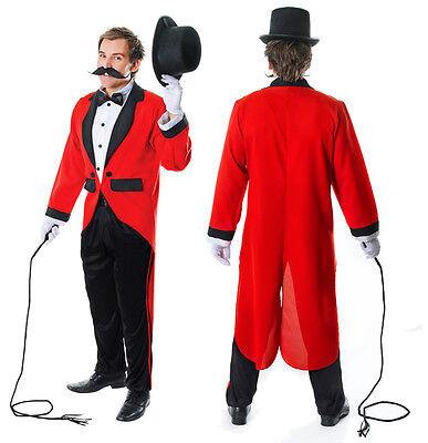 Mens Ringmaster Ring Master Fancy Dress Costume Tailcoat Lion Tamer Outfit - Lion Tamer Male Costume