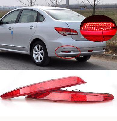 2x LED Bumper Lens Reflector Brake Tail Light For Nissan Sylphy wingroad almera