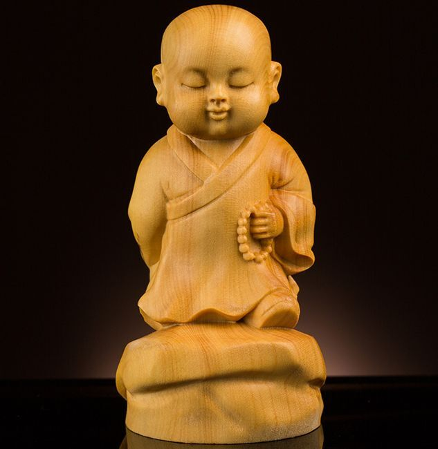 TB242 - 8 CM high NICE Quality Carved Boxwood Carving : Little Monk Boy