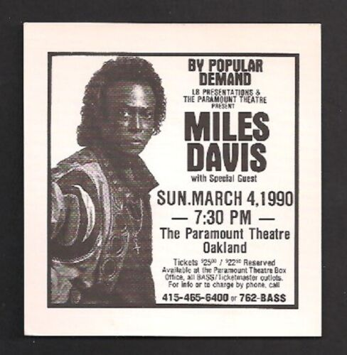 MILES DAVIS 1990 CONCERT HANDBILL FLYER PARAMOUNT THEATRE OAKLAND........$25.00