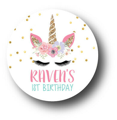 30 Unicorn Face Personalized Birthday Party Favors Treat Bag Stickers Birthday Party Treat Bag
