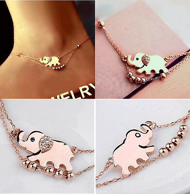 Barefoot Sandal Beach Foot Chain Rose Gold Plated Elephant Charm Anklet Bracelet