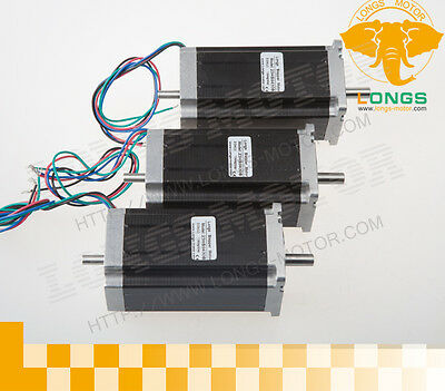 New Arrival 3pcs Nema 23 Dual Shaft Stepper Motor 425 Oz.in 3.0a 112mm 23hs9430b