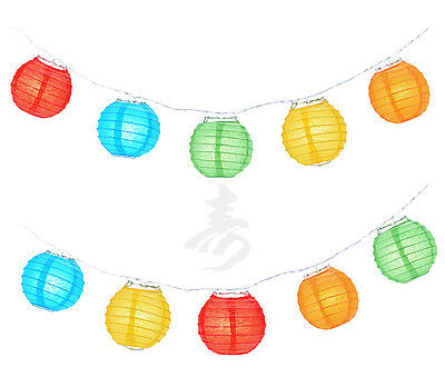 Chinese Japanese Asian Nylon Lantern 4 Party String Lights, Assorted Mix Colors