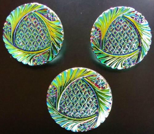 """3 Czech Vaseline Glass Buttons #B107 - 27 mm or 1"""" - RAINBOW IRIDESCENT!!!!"""