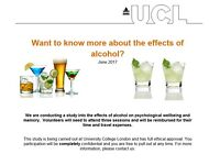 Males needed for paid alcohol research at UCL