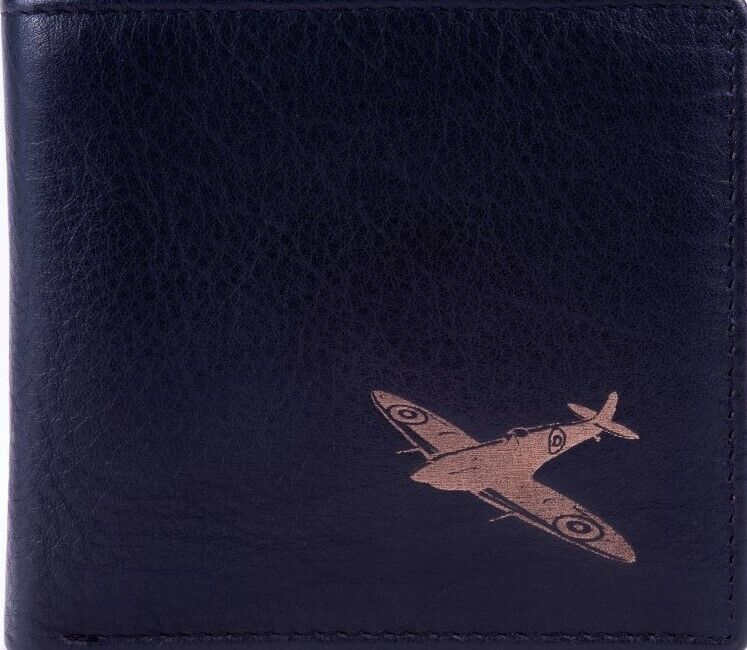 Engraved Leather Mens Card Wallet Spitfire Image Luxury Quality with CoinPocket