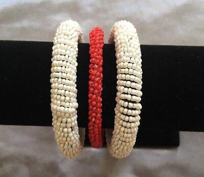 Red White Handmade Bracelet Bengal Costume Party Halloween Jewlery US Seller