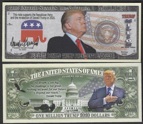 Lot of 100 BILLS - Re-Elect Donald Trump Vote Republican 2020 Million